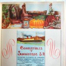 Coleccionismo de carteles: LÁMINA COLECCIÓN PUBLICIDAD RECLAMO COMBUSTIBLES Y SUMISNISTROS PROVINCIA DE HUELVA 1954-1955. Lote 62281848