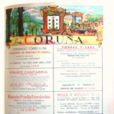 Coleccionismo de carteles: LÁMINA COLECCIÓN PUBLICIDAD RAMON PONLLA SEGUROS GALICIA INSUA VIZOSO PROVINCIA LA CORUÑA 1954-1955. Lote 62282764