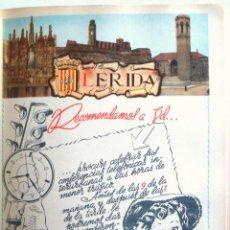 Coleccionismo de carteles: LÁMINA COLECCIÓN PUBLICIDAD PROPAGANDA ANUARIO TELEFÓNICO PROVINCIA DE LÉRIDA 1954-1955. Lote 62284844