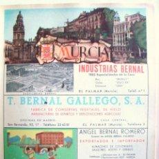 Coleccionismo de carteles: LÁMINA COLECCIÓN PUBLICIDAD INDUSTRIAS BERNAL HOTEL VICTORIA PROVINCIA DE MURCIA 1954-1955. Lote 62286420