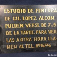 Coleccionismo de carteles: CARTEL TIPO BAQUELITA ESTUDIO DE PINTURA PINTADO A MANO HORARIO DE VISITAS 7 A 9 AÑOS 40 27,5X35CMS. Lote 62287344