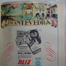 Coleccionismo de carteles: LÁMINA COLECCIÓN PUBLICIDAD RATAS Y RATONES BLIZ PROVINCIA DE PONTEVEDRA 1954-1955. Lote 62288632