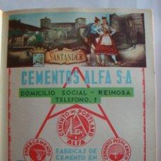 Coleccionismo de carteles: LÁMINA COLECCIÓN PUBLICIDAD NESTLÈ CEMENTOS ALFA PROVINCIA DE SANTANDER 1954-1955. Lote 62289740