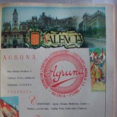 Coleccionismo de carteles: LÁMINA COLECCIÓN PUBLICIDAD AGRUNA HOTEL EXCELSIOR PROVINCIA DE VALENCIA 1954-1955. Lote 62292060