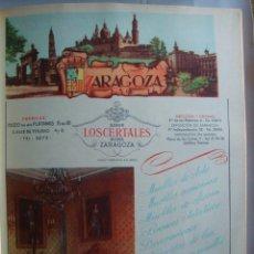 Coleccionismo de carteles: LÁMINA COLECCIÓN PUBLICIDAD ANUARIO TELEFÓNICO PROVINCIA DE ZARAGOZA 1954-1955. Lote 62293152