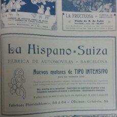 Coleccionismo de carteles: LA HISPANO SUIZA FÁBRICA DE AUTOMÓVILES BARCELONA AÑO 1910.HOJA PUBLICIDAD. Lote 62776280