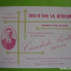 Coleccionismo de carteles: ANTIGUA TARJETA PUBLICITARIA FÁBRICA DE LICORES LA AFRICANA. CÁNDIDO PRIETO. CEUTA.. Lote 62988568