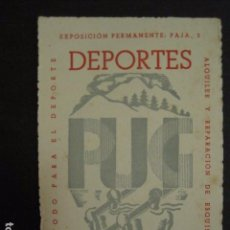Coleccionismo de carteles: CARTELITO FOLLETO PUBLICITARIO - EXPOSICION PERMANENTE DEPORTES - VER FOTOS - 9X13CM -(V-6752). Lote 63240660