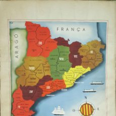 Coleccionismo de carteles: GR-121. CARTEL MAPA COMARCAL DE CATALUÑA. LITOGRAFIA SOBRE PAPEL. SIGLO XX.. Lote 127746920