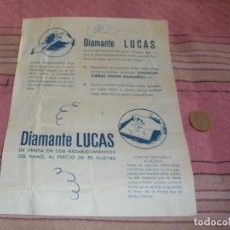 Collectionnisme d'affiches: DIAMANTE LUCAS - AFILADOR, CORTACRISTALES Y AZULEJOS - FOLLETO PUBLICITARIO.. Lote 64165239