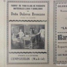 Coleccionismo de carteles: DOÑA DOLORES BRONCANO FABRICA DE TODA CLASE DE MOSAICOS.CIEMPOZUELO MADRID.HOJA REVIISTA 1928. Lote 64507295