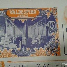 Coleccionismo de carteles: VALDESPINO JEREZ HOJA PUBLICIDAD ANO 1910. Lote 64835855