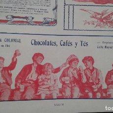 Coleccionismo de carteles: COMPAÑIA COLONIAL CHOCOLATE,CAFES Y TES MADRID.HOJA PUBLICIDAD AÑO 1910. Lote 65990726