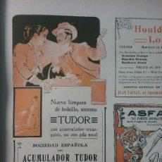 Coleccionismo de carteles: TUDOR.SOCIEDAD ESPAÑOLA DEL ACUMULADOR TUDOR.MADRID.AÑO 1910.HOJA PUBLICIDAD. Lote 62011488