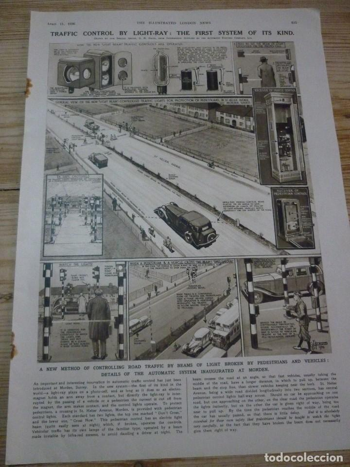 TRAFFIC CONTROL BY LIGHT-RAY: THE FIRST SYSTEM OF ITS KIND. ARTICULO ORIGINAL LONDON NEWS APRIL 1936 (Coleccionismo - Carteles Pequeño Formato)