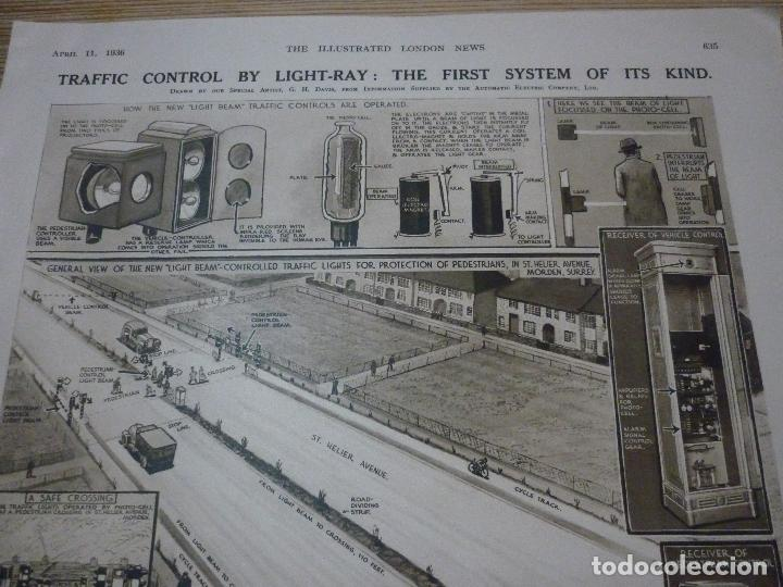 Coleccionismo de carteles: TRAFFIC CONTROL BY LIGHT-RAY: THE FIRST SYSTEM OF ITS KIND. ARTICULO ORIGINAL LONDON NEWS APRIL 1936 - Foto 2 - 66255754