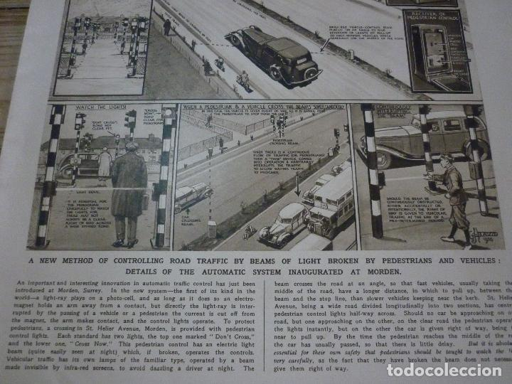 Coleccionismo de carteles: TRAFFIC CONTROL BY LIGHT-RAY: THE FIRST SYSTEM OF ITS KIND. ARTICULO ORIGINAL LONDON NEWS APRIL 1936 - Foto 3 - 66255754