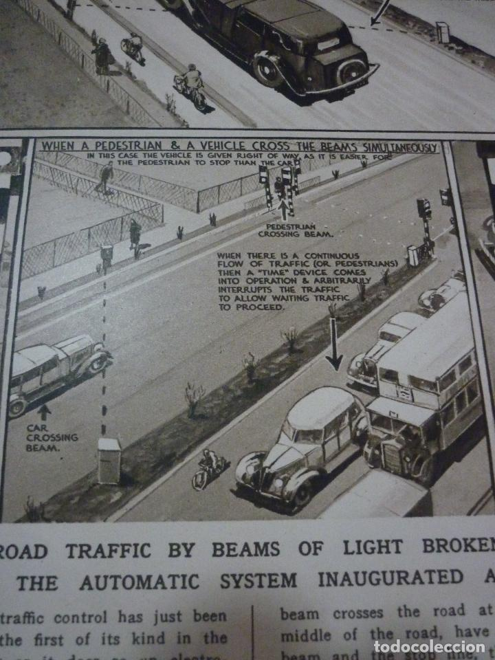 Coleccionismo de carteles: TRAFFIC CONTROL BY LIGHT-RAY: THE FIRST SYSTEM OF ITS KIND. ARTICULO ORIGINAL LONDON NEWS APRIL 1936 - Foto 5 - 66255754