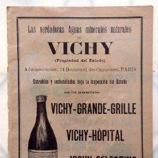 Coleccionismo de carteles: PUBLICIDAD DEL AGUA DE VICHY, AÑO 1899, PASTILLAS SAL VICHY ÉTAT, ANUNCIO PUBLICITARIO A DOBLE CARA. Lote 66809150
