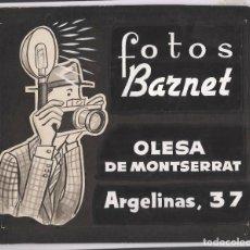 Coleccionismo de carteles: CARTEL ORIGINAL SOBRE CARTÓN DIBUJADO, DE FOTOS BARNET, OLESA DE MONTSERRAT, 1950'S-60'S. 28X34CM.. Lote 67282937