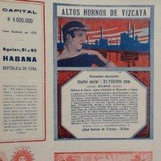 Coleccionismo de carteles: ALTOS HORNOS DE VIZCAYA SOCIEDAD ANÓNIMA BILBAO HOJA PUBLICIDAD AÑO 1910. Lote 67384315