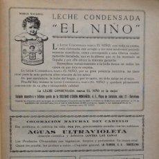 Coleccionismo de carteles: LECHE CONDENSADA EL NIÑO HOJA PUBLICIDAD AÑO 1927. Lote 67569170