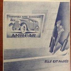 Coleccionismo de carteles: AMILCAR .AUTOMOVILES ANTIGUOS COCHES.HOJA PUBLICIDAD AÑO 1929. Lote 68494371