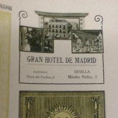 Coleccionismo de carteles: GRAN HOTEL DE MADRID SEVILLA HOJA PUBLICIDAD HOJA 1910 ORIGINAL. Lote 68852767