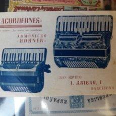Coleccionismo de carteles: ACORDEÓNES BARCELONA 1946 MODELOS EN VENTA. Lote 68974982