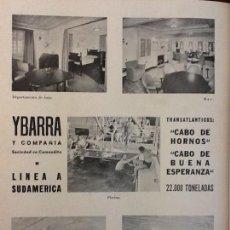 Coleccionismo de carteles: YBARRA Y COMPAÑÍA TRANSATLÁNTICOS LÍNEA A SUDAMÉRICA CABO DE HORNOS BUENA ESPERANZA HOJA 1941. Lote 131499386