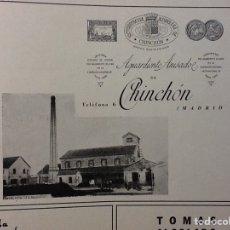 Coleccionismo de carteles: AGUARDIENTE ANISADOS DE CHINCHÓN MADRID HOJA REVISTA AÑO 1940. Lote 69105973