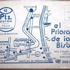 Coleccionismo de carteles: ANTIGUO FOLLETO PUBLICITARIO DE PARCELAS DE TERRENO EN PRIORATO DE LA BISBAL INTERESANTE VER REV. . Lote 71705419