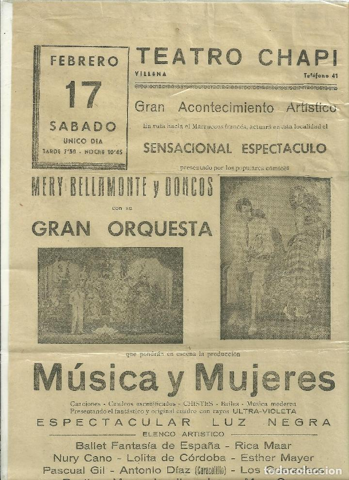 2214.- TEATRO CHAPI DE VILLENA-CARTEL DEL 17 DE FEBRERO-MUSICA Y MUJERES (Coleccionismo - Carteles Pequeño Formato)