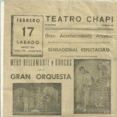 Coleccionismo de carteles: 2214.- TEATRO CHAPI DE VILLENA-CARTEL DEL 17 DE FEBRERO-MUSICA Y MUJERES. Lote 72981143