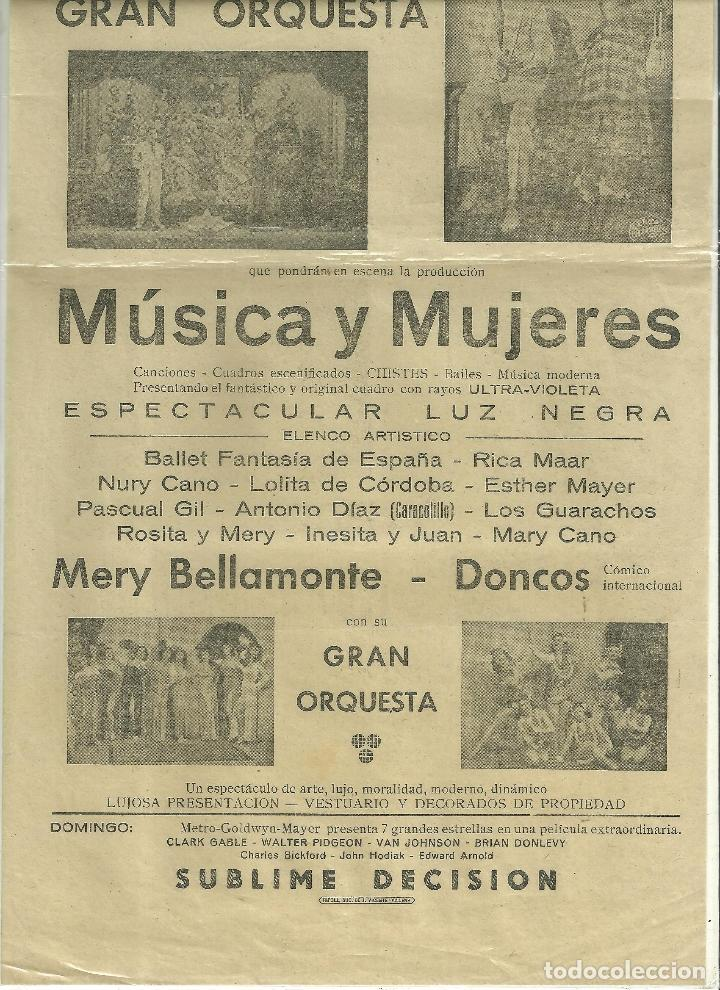 Coleccionismo de carteles: 2214.- TEATRO CHAPI DE VILLENA-CARTEL DEL 17 DE FEBRERO-MUSICA Y MUJERES - Foto 2 - 72981143