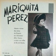 Coleccionismo de carteles: ANTIGUA PUBLICIDAD MUÑECA MARIQUITA PEREZ. 1958. Lote 73679827