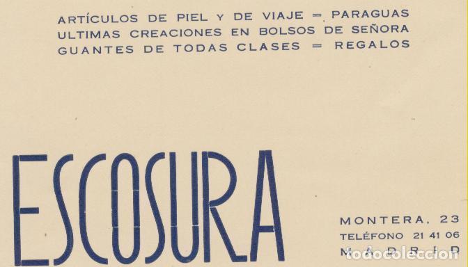 ESCOSURA. ARTICULOS DE PIEL. MONTERA,23 - MADRID. TARJETA PUBLICITARIA. (Coleccionismo - Carteles Pequeño Formato)