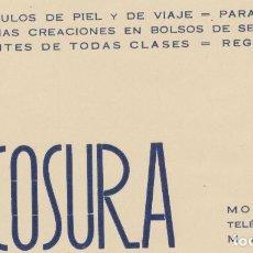 Coleccionismo de carteles: ESCOSURA. ARTICULOS DE PIEL. MONTERA,23 - MADRID. TARJETA PUBLICITARIA.. Lote 74682579