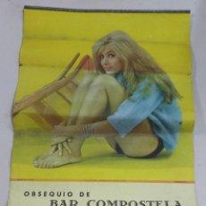 Coleccionismo de carteles: ANTIGUO CALENDARIO PUBLICITARIO. BAR COMPOSTELA. CADIZ. SERIE B. Nº 6432. DESCANSO. AÑO 1965. Lote 77383497