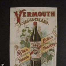 Coleccionismo de carteles: VERMOUTH -ACEITUNAS -CHOCOLATES - VINOS SALCHICHON VICH-PEQUEÑO CARTEL -DIPTICO-VER FOTOS -(V-9674). Lote 79801685