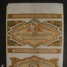 Coleccionismo de carteles: CARTELITO ENVOLTORIO 150 GR.- CHOCOLATES JUAN DE LA FUENTE - MADRID ARANJUEZ - VER FOTOS - (V-9725). Lote 80133057