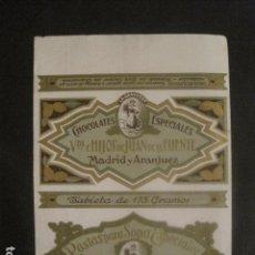Coleccionismo de carteles: CARTELITO ENVOLTORIO 175 GR.- CHOCOLATES JUAN DE LA FUENTE - MADRID ARANJUEZ - VER FOTOS - (V-9727). Lote 80133285