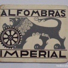 Coleccionismo de carteles: CARTEL DE MADERA. ALFOMBRAS IMPERIAL. 23 X 20CM. VER. Lote 80181773