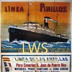 Coleccionismo de carteles: LINEA PINILLOS, LINEA DE LAS ANTILLAS, BALMES, CÁDIZ - PUBLICIDAD IMÁGENES - NAVAL - BARCOS. Lote 136401748