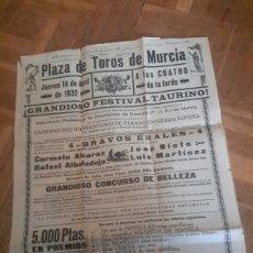 Coleccionismo de carteles: CARTEL DE TOROS DE 1932 DE MURCIA. Lote 82624879
