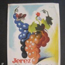 Coleccionismo de carteles: JEREZ - II FIESTA DE LA VENDIMIA - AÑO 1949- PEQUEÑO CARTEL ILUSTRADOR RAMON -VER FOTOS-(V-10.600). Lote 83313604