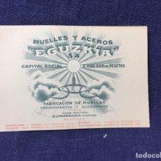 Coleccionismo de carteles: MUELLES Y ACEROS EGUZKIA S. A. ZUMARRAGA MUELLES HERRAMIENTAS Y ACCESORIOS 8,5X12CMS. Lote 83411184