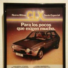 Coleccionismo de carteles: CUADRITO -20*30- SEAT RITMO CLX - COCHES - AÑOS 80 - VINTAGE CUADRO PUBLICIDAD. Lote 85952196