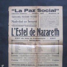 Coleccionismo de carteles: CALELLA ANY 1925 - LA PAZ SOCIAL - SOCIETAT CATOLICA -VER FOTOS - (V- 10.954). Lote 86299636