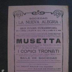 Coleccionismo de carteles: SOCIEDAD LA NUEVA ALEGRIA - AÑO 1915 - BARCELONA-VER FOTOS - (V- 10.958). Lote 86300384
